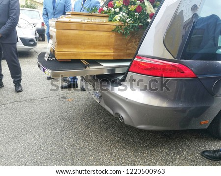 Coffin in the hearse during a funeral