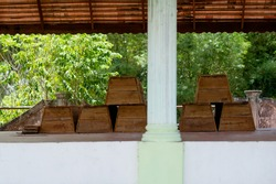 Coffin wood pavilion prepared for burial islamic people