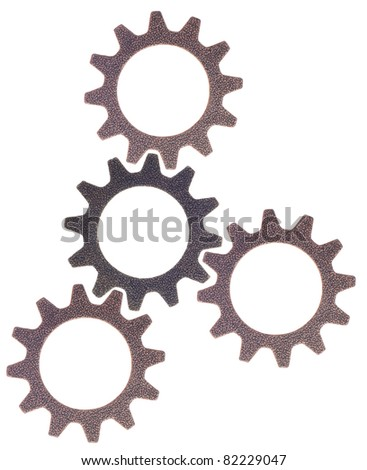 Cog Wheel Gear Rounds Metal Objects Background on White. - stock photo