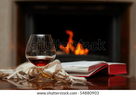 Cognac, book and shawl by the fireplace