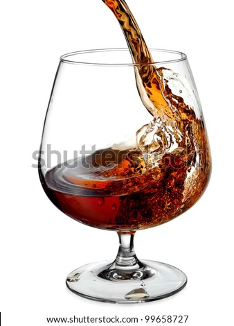 Cognac pouring in a glass