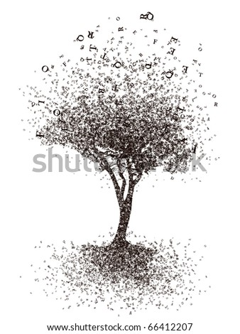 Cognition Tree. Isolated on White Background. Computer Graphic.