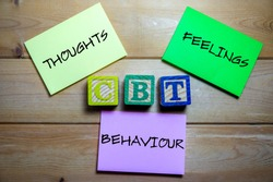 Cognitive behavioral therapy elements. Mental health, positive thinking and confidence concept.