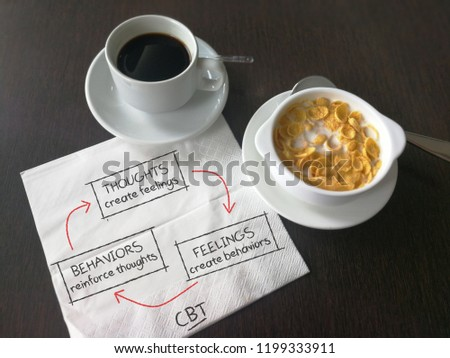 Cognitive Behavioral therapy on napkin paper