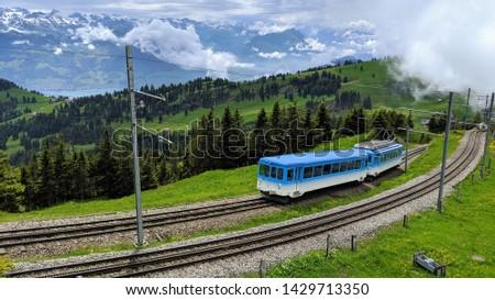 Cogwheel Train from Vitznau to Mount Rigi Stock fotó ©