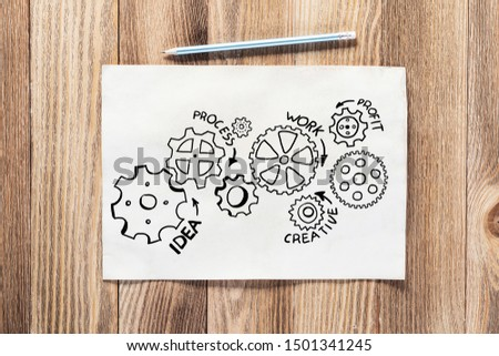 Cogwheels hand drawn illustration on paper sheet. Industry mechanism with cogwheels sketch on wooden surface. Sheet of paper and pencil lying on wooden desk. Textured natural wooden background