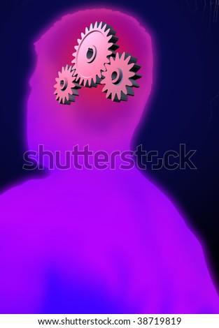 Cogwheels in a head symbolizing thinking