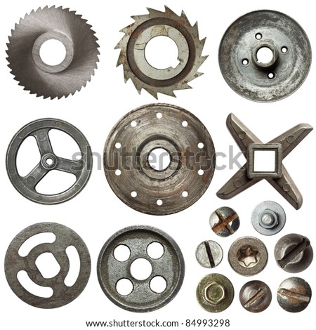 Cogwheels, pulleys, screw heads and other metal details