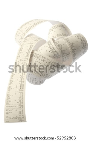 coil of paper from a printing adding machine or cash register