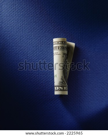 coiled dollar showing the word one, all over blue moody background