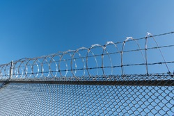 coiled razor wire with its sharp steel barb. ensuring safety and security. barbwire