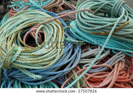 Coils of colorful rope used by fisherman.