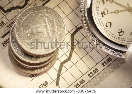 coin and clock on chart