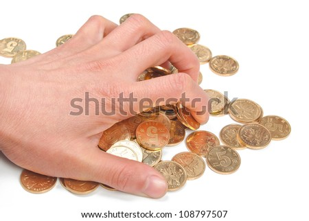 Coin and hand