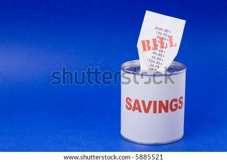 Coin Bank and bills, concept of financial problem, Bankruptcy
