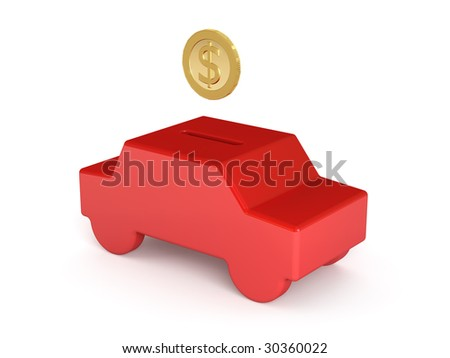Coin bank and dollar - stock photo