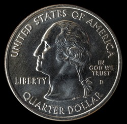 Coin 25 cents. USA. Isolated on a black background.