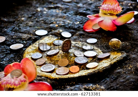 Coin donation in the Buddha's footprint,Sangkhlaburi, Kanchanaburi  , Thailand