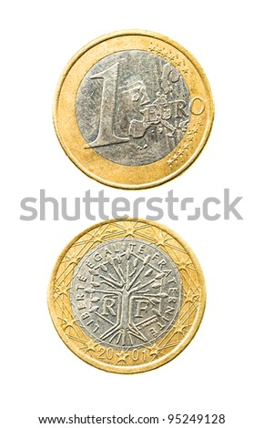 Coin in one euro. It is isolated on the white