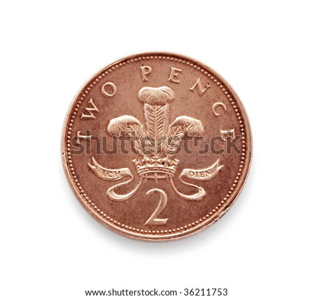 Coin isolated on white,Two pence