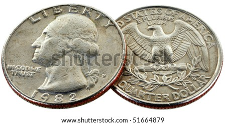 coin of 25 cents wery close up