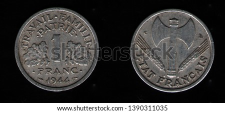 Coin of France 1 Franc 1944 #1390311035