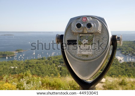 Coin operated telescope looking out across Penobscot Bay in Maine.
