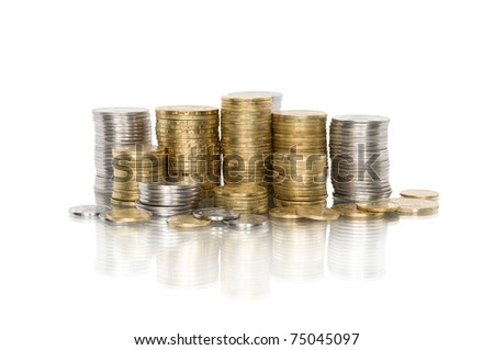 Coin pile isolated on white background with reflection