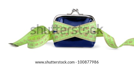 Coin purse with measuring tape isolated on white