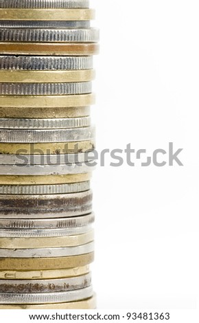 Coin stack, close-up on white background