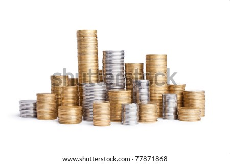 coin stack isolated on white #77871868