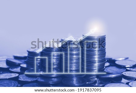 coin stack with growth chart for financial and banking concept. investing economic growing.