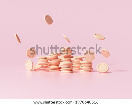 Coin stacks with falling coin on pink background, business investment profit, money saving concept. 3d render illustration.