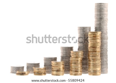 Coin stairs representing growth isolated on white background