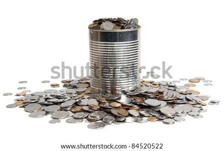 Coins and can on white background