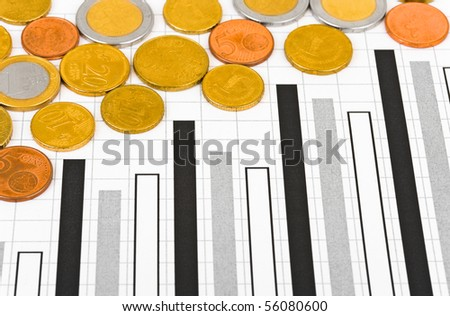 Coins and diagram - abstract business background