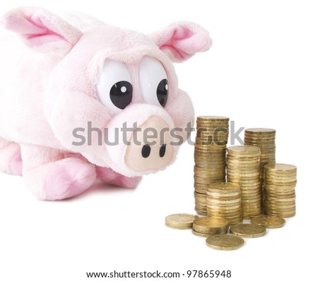 Coins and pink pig isolated on white background