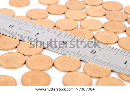 Coins and ruler