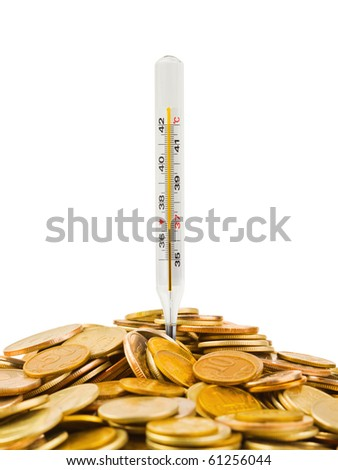 Coins and thermometer isolated on white background