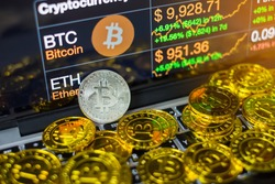 Coins bitcoin, buying goods for crypto currency. Payment with cryptocurrency concept