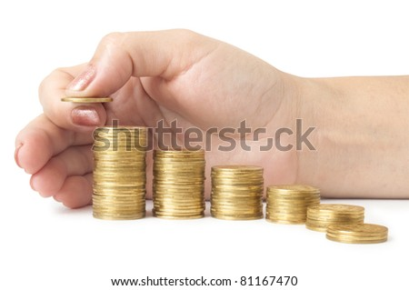 coins diagram with hand isolated on white