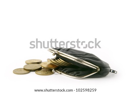 Coins falling from purse