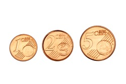 Coins from 1 to 5 cent on white background