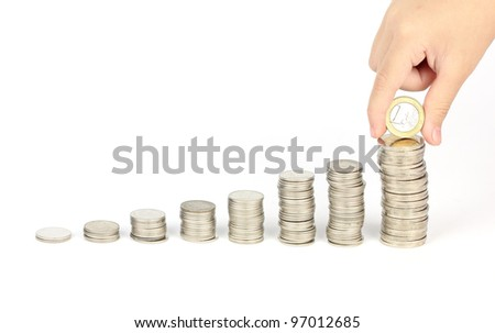 Coins graph with hand keep euro coin