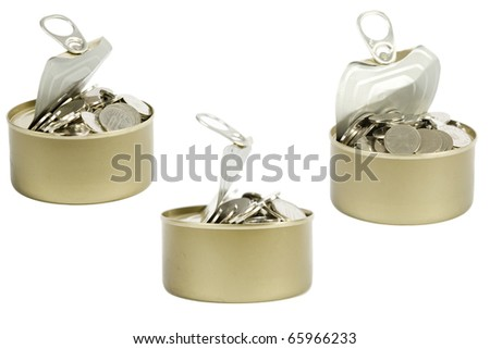 coins in a tin can isolated over white