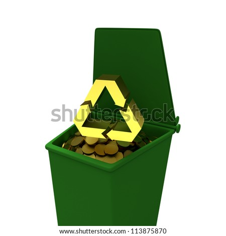 Coins in recycling container, business concept illustration