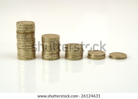 Coins in shape of graph against white backround