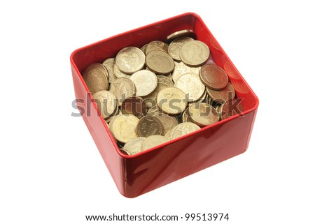 Coins in Tin Box on White Background