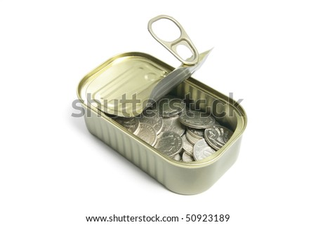 Coins in Tin Can on White Background
