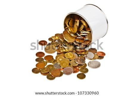 Coins in tin isolated on white background
